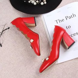 Wholesale Red Chunky Beads - Genuine Leather Women Sexy Pumps Lady New Fashion Chunky Heels Round Toe Single Summer Shoes Beads Decorated