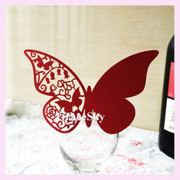 Wholesale Butterfly Name Place - 60pcs lot Free Shipping Laser Cutting Beautiful Butterfly Shaped Paper Wine Glass Place Seat Name Card for Paper Wedding Party Decoration