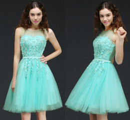 Wholesale New Mint Green Bridesmaid Dress - Mint Green Short Bridesmaid Dresses 2018 New Cheap Sheer Neck Lace Appliques Corset Back Knee Length Wedding Party Wear Under 50 CPS662