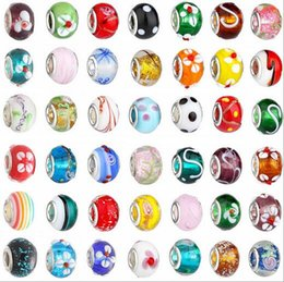 Wholesale mixed large hole beads - 2015 New Glass Beads Charms pretty European Murano Glass Biagi Large Big Hole Rroll Beads Fit For Charm Bracelets&Necklace Mix Color
