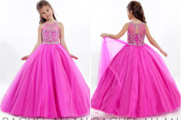 Wholesale Tulle Gowns For Sale - 2016 Hot Sale Fashion Litter girls Dress Sleeveless Tulle Straps Beadings Pageant Ball Gowns For Wedding Bridesmaid Kids Dresses