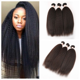 """Wholesale Wholesale Hair Online - Malaysian Kinky Straight Hair Weft 3 Pcs Lot Hair Weaves Best Afro G-EASY Hair Products Seller Online 8""""-30"""""""