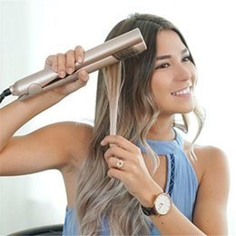 Wholesale Electric Dryer Plugs - Hair Straightener Irons Wet Dry 2 In 1 Gold Hair Straightening Curling Irons Hair Curler EU US UK Plug With GIFT Box