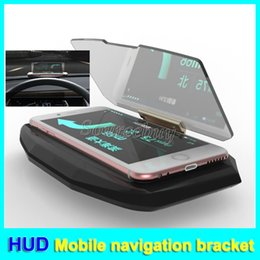 Wholesale Car Hud Head Up - Universal Car HUD Head Up Display Mobile Navigation Bracket For Mobile phone Mounts GPS Glass Reflector Car Holder Unblock the Eyesight