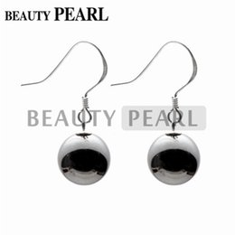 Wholesale Earrings Sterling Silver Round Ball - Round 10mm Black Hematite Bead 925 Sterling Silver Earrings Smooth Surface Ball Beaded Dangle Earrings for Ladies