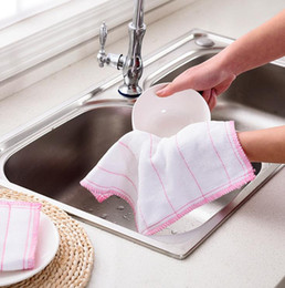 Wholesale Kitchen Towels Rags Wholesale - High Efficient Anti-grease Color Dish Cloth Bamboo Fiber Washing Towel Magic Kitchen Cleaning Wiping Rags