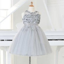 Wholesale Silver Beads For Clothes - 2015 Silver tulle Princess Girl Party Dresses Bead Appliques Tutu Wedding Dress for Christmas Kids Birthday clothes 12M-12Y