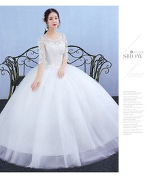 Wholesale Korean Princess Photo - New Korean style Puff skirt A word shoulder Floor height dress princess Large size Was thin formal Wedding dress