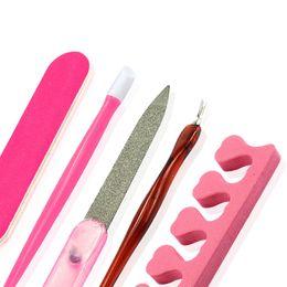 Wholesale Cuticle Care - Wholesale- 5pcs Nail Art Tools Remover Clipper Cuticle Pushers Nail File Finger Toe Separator Manicure Pedicure Tools Nail Care Tools LA321