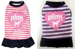 Wholesale Free Puppy Supplies - Free Shipping Stripe Pink Cute Puppy Dog Clothes 100% Cotton Comfortable Summer Skirt Vests Lovely Pet Clothing Supplies