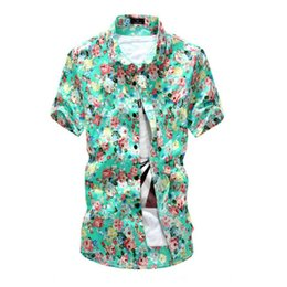 Wholesale Green Hawaiian - Wholesale-2016 Casual Men Hawaiian Short Sleeve Button Down Shirts Floral Beach Shirt Tops Summer