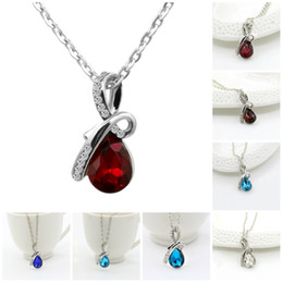 Wholesale Singapore Fines - Pendant Necklace Women Austrian Crystal Water Drop Pendants & Necklaces Chain Necklace Fine Jewelry For Women Chain Necklaces