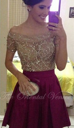 Wholesale Nude Sequin Mini Dress - Burgundy Off the Shoulder Short Homecoming Dresses Short Sleeve Sheer Nude Crystal Robe de Cocktail Dress 8th Grade Prom Dresses Party Gowns