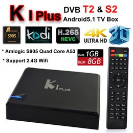 Wholesale Satellite Tv Android - KI Plus Android TV Box Support DVB S2 DVB T2 Digital Video Broadcast Satellite Receiver Amlogic S905 Quad Core 1G 8G Media Player Wifi