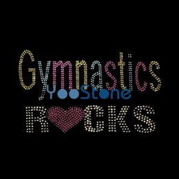 Wholesale Wholesale Iron Rhinestone Appliques - Gymnastics Rocks Rhinestone Transfer Iron On Hot Fix Motif Hotfix Applique