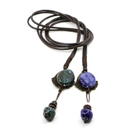 Wholesale Making Clay Beads - New Bohemia Style Ceramic Beads Jewelry Antique Ethnic Long Necklace Jewelry Women's Hand Made Necklace For Women Statement Jewelry