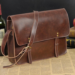 Wholesale Crazy Motorcycle - Factory sales brand new retro male package academy men single shoulder bag student bag business casual leisure Crazy Horse portable