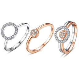 Wholesale Finger Ring Diy - BELAWANG 9 Style 2 Colors 925 Sterling Silver Women Finger Ring Sets With CZ Silver&Rose Gold Heart Finger Rings Fit DIY Jewelry Making
