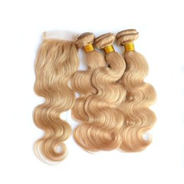 Wholesale Dyed Peruvian Lace Closure - #27 Honey Blonde 4x4 Lace Closure With Weaves 4Pcs Lot Strawbery Blonde Peruvian Human Hair With Closure Blonde 3Bundles With Closure