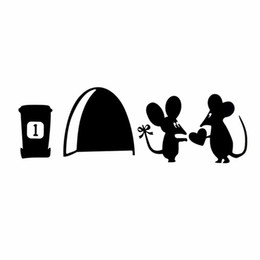 Wholesale Mouse Sticker - New Creative Vinyl Wall Switch Toilet Glass Sticker Decal Home Decor Cute Mouse Love Heart with Rat Hole Black Wall Sticker