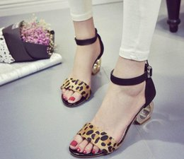 Wholesale Leopard Kitten Heels - Fashion Leopard Faux Horsehair Alien Sandals High-heeled Ankle Strap Women Summer Shoes