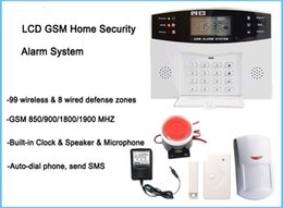 Wholesale Home Security Systems Quad Band - Wholesale LCD display wireless wired SMS GSM alarm system, Quad-band GSM home security alarm system, auto-dial burglar alarm system