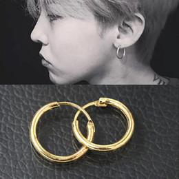 Wholesale Yellow Fashion Earrings - Unisex Women Men 18K Yellow White Gold Plated Plain Hoop Huggie Earrings Fashion Jewelry Best Gift