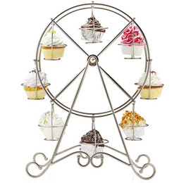 Wholesale Tools Decorate Wedding Cake - 8 Cup Metal Rotating Ferris Wheel Cupcake and Dessert Stand Holder Chrome Finish Cake Holder Decorating Display Party Tools