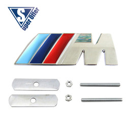 Wholesale Hood Stickers - 3D Metal Sport M power    M Front Hood Grill Badge Emblem stickers screws for M3 M5 X1 X3 X5 X6 E36 E39 E46 E30 E60 E92