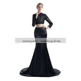 Wholesale Charmeuse Red Evening Dress - Mermaid   Trumpet High Neck Court Train Black Lace Charmeuse Formal Evening Dress with Lace two pieces