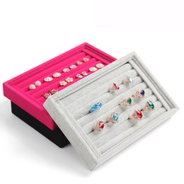 Wholesale box organizers - Free Shipping,L22.5 * W14.5 * H3cm Wholesale New Gray red black color Jewelry Rings Display Show Case Organizer Tray Box