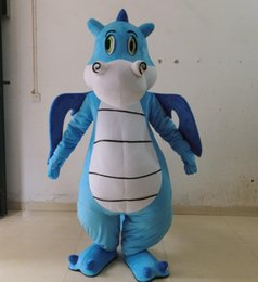 Wholesale Wings For Adult Costume - 100% positive feedback SX0722 blue dinosaur mascot costume with wings for adult to wear for party