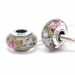 Wholesale Smallest Glass Beads - S925 Sterling Silver jewelry Small wildflowers Murano Glass Beads Fit European DIY pandora Charm Bracelets & Necklace 171B