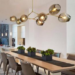 Wholesale Cloth Pendant Light Cord - globe glass pendant lamp Branching Bubble Modern Chandelier Light for kitchen cafe cloth shop 3 5 7 8 9 11 13 15 heads