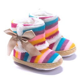 Wholesale Infant Girls Snow Boots - Baby Rainbow knitted Snow boots Infants ribbon bowknot stripes knitting fur snow boots girls anti-slip prewalkers