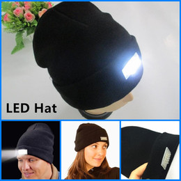 Wholesale Solid Cotton Beanie - Led Winter Beanie fashion led glowing knitted caps Glowing Hat 5 led glow knitting hat