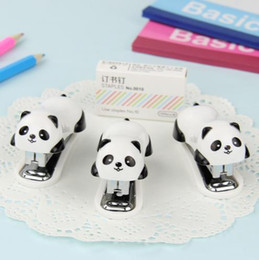 Wholesale Manual Binder - Fashion Cartoon Panda Stapler Set Paper Office Binding Binder Staples Essential Supplies Gift for Student