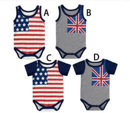 Wholesale Cdm Wholesale - Newborn Rompers Baby Boys American Flag Bodysuits Wholesale Baby Kids clothes Children clothing CDM 001