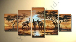 Wholesale Tree Africa - Tree Oil Painting 5pcs On Canvas High Quality Africa Elephant Landscape Modern Wall Picture For Living Room Abstract Home Decor