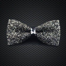 Wholesale Mens Silk Bow Ties - Stylish Crystal Bow Ties Mens Fashion Accessories Wedding Party Adjustable New Style Bow Ties F-203