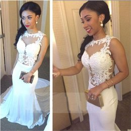 Wholesale Cheap China Girls Dresses - Prom Dresses for Black Girls Vestido De Formatura 2017 Sexy Sheer Neck White Mermaid Prom Dresses Cheap China Made Evening Dresses