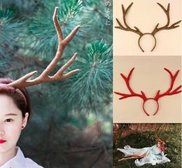 Wholesale Stainless Steel Headbands - handmade moose Antlers headband halloween animal fairy cosplay prop vintage new