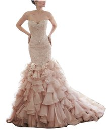 Wholesale Exquisite Sweetheart Beads Tiered Ruffle - Vintage 2016 Crystal Mermaid Wedding Dress Beaded Sweetheart Blush Puffy Wedding Dresses Ball Gown Ruffles Organza Brides Dresses Exquisite