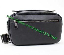 Wholesale Waist Chest Bag Leather - Top Grade Man Black Plaid Real Leather AMBLER N41289 Fashion Designer Chest Pack Bumbag Waist Bag
