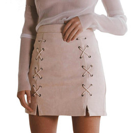 Wholesale Uk Nylon - Wholesale- Women Ladies High Waisted Pencil Skirt Bodycon Suede Leather Mini Skirt Club UK