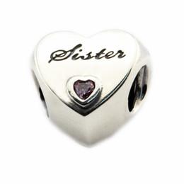 Pandora amor rosa cz online-Se adapta a Pandora pulsera original 925 cuentas de plata esterlina amor de la hermana encanto con rosa CZ 2016 nueva joyería Autumen 1 PC / lote