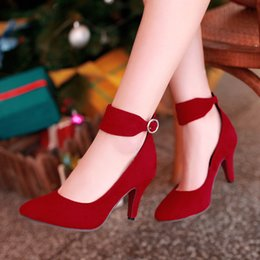 Wholesale Shoes Pumps Woman Yellow - classic pointed toe high heels ankle wrap fashion pumps fall woman shoes