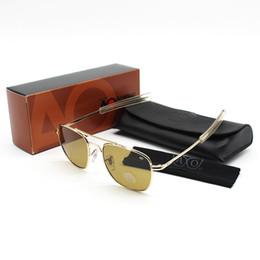 Wholesale Flight Metal - Wholesale-Fashion brands USA Air Force Flight AO 8054 sunglasses Metal frame Glass lens men women sun glasses Pakistan Air Force special