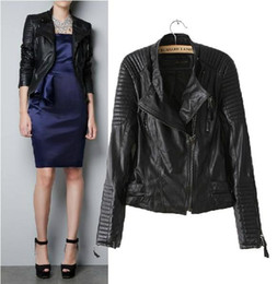 Wholesale Leather Sleeve Women S Blazer - Women Slim Brand Faux Soft motorcycle Leather Jackets Pu Black Blazer Zippers Long Sleeve Leather Coat Size:S~L Free Shipping