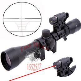 Wholesale Hunting Laser Riflescope - 2016 NEW 1set Optical Sight 3-9X40 Riflescope Hunting Optics Y0038 25.4mm Scope Mount Red Laser Sight